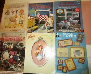 * CRAFTERS VARIED BOOKLETS LOT OF 6 painting sewing wood craft dough paper $2.00