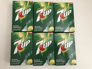 7UP Singles To Go Drink Mix Sugar Free 6 boxes (36Packets) NEW LEMON LIME