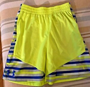 Under Armour Neon Yellow Striped Shorts Size Youth Large $3.25