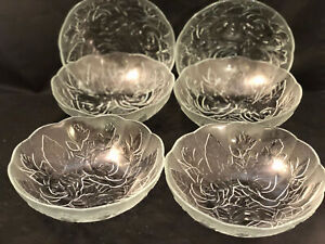 6 Pc Soup or Salad Bowls Clear Glass with Flower Motif