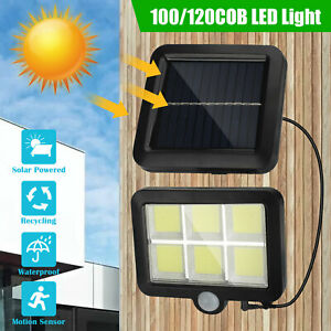 120 100 LED Solar Power PIR Motion Outdoor Garden Light Security Flood Wall Lamp