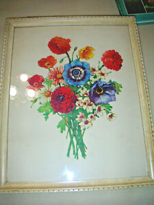 Vintage Botanical Lithograph by Percy King ZINNIAS & ANEMONES 1940s Donald Art  $20.00