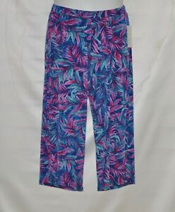 Quacker Factory Pull On Palm Printed Wide Leg Knit Crop Pants Size 1X Navy Multi