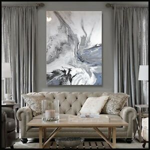Abstract Resin Painting Modern Canvas Wall Art Large Signed Framed ELOISExxx $375.00