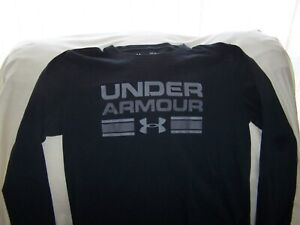 Boys Under Armour Black Long Sleeve SPELL OUT Shirt Large LOOSE FIT $5.55