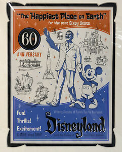 Disneyland 60th Anniversary Lithograph Disney Parks Walt amp; Mickey 9quot; x 12quot; $52.42