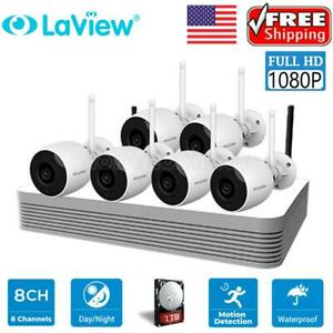 1080P 8CH NVR Wireless Security Camera System w/6 IR Night Vision Camera 1TB HDD