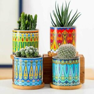Mandala Pattern Flower Pot Ceramic Succulent Planter Pots for Garden Set of 4