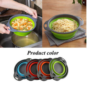 2pcs Set Silicone Collapsible Colanders Round Vegetable Fruits Kitchen Strainer