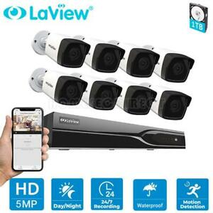 LaView 8CH DVR H.265 8x 5MP Outdoor CCTV Home Security Camera System Kit 1TB HDD