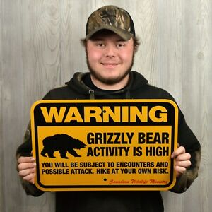 GRIZZLY BEAR WARNING Sign traps trapping hunting 12x18quot;