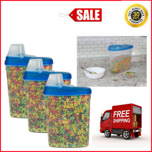 Set 3 Pack Large Dry Food Storage Container Cereal Keeper with Measuring Cup FDA