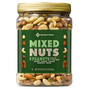 Member#x27;s Mark Roasted and Salted Mixed Nuts with Peanuts 34 oz. $11.63