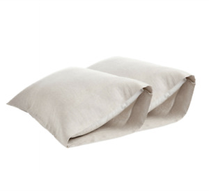DAPU Pure Stone Washed Linen Pillowcases 1 Pair Woven 100% French Natural Flax