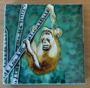 Orangutan Decorative Wall Ceramic Art Tile 4x4 New