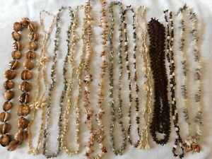 Lot of 11 Vintage Sea Shell, Seeds Beaded Necklaces, All Different Group 37