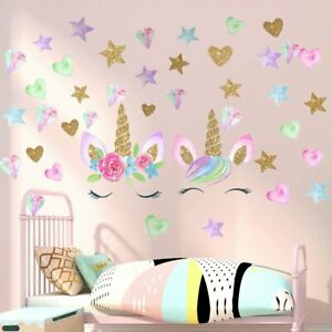 2 Sheets Unicorn Stickers Wall Decals for Bedroom Removable Unicorn Home Decor