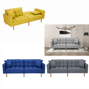 Futon Sofa Bed Reclining Back Sofa Sleeper Folding Lounge Couch With 2 Pillows