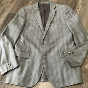 HUGO BOSS Sport Coat Suit Jacket 42R Charcoal Gray Plaid Check Wool 2 Button $48.00