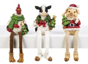 Ganz Christmas Barnyard Farm Shelf Sitters Pick Rooster Cow or Pig