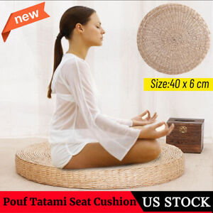 Round Straw Tatami Pouf Pillow Floor Mat Meditation Yoga Seat Cushion Pad Decor