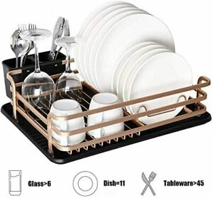 Aluminum Dish Drying Rack with Cutlery Holder Removable Drainer Tray Rose Gold