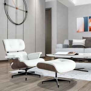 Eame s Style Walnut Chair amp; Ottoman Genuine Leather Lounge Chair White Modern $580.00
