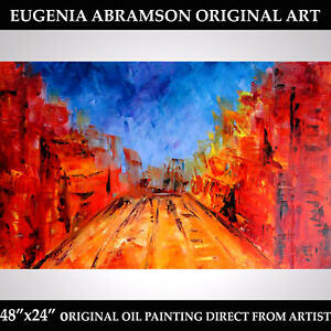 LARGE CITYSCAPE ORIGINAL OIL Knife PAINTING Modern Art on Stretched Canvas 48x24 $169.00