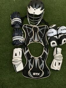 STX Lacrosse Gear ChestElbow PadCascade Helmet Cox pro7Warrior Gloves Adult $174.99