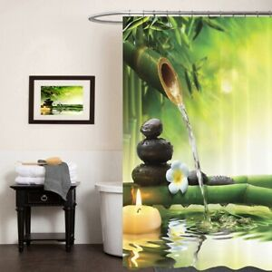 NEW Floral Waterproof Polyester Bathroom Shower Curtain With Free 12 Hooks