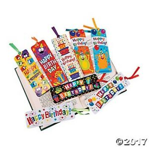 48 Happy Birthday Laminated Bookmarks with Ribbons Kids Party Favors