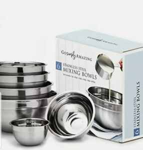 Stainless Steel Mixing Bowl Set Nesting Set of 6 by Go Simply Amazing. Innov
