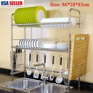 Dish Drying Rack Stainless Steel Over the Sink Dish Rack Large Capacity Kichen $36.65