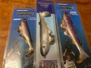 3 New REACTION STRIKE Lures 5quot; 6quot; 7quot; POSEIDON Slow Fall SWIMBAITS Natural Shad