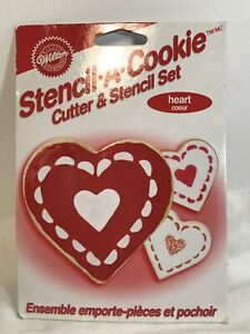 Wilton Cookie Cutter Stencil A Cookie Set Heart NEW Sealed AH $6.00