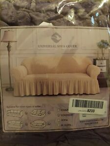 CHUN YI Universal Sofa Slipcover with Skirt 1 Piece Fitted Couch Cover...