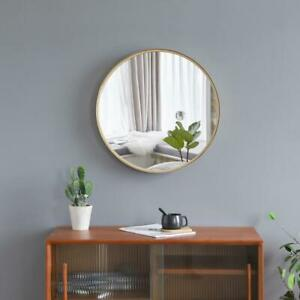 20 Inch Wall Mounted Round Mirror Glass Panel Circle Gold Metal Frame Bathroom