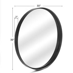 Black Metal Wall Mirror Brushed Framed Round Mirror Wall Mounted Mirror 30 inch