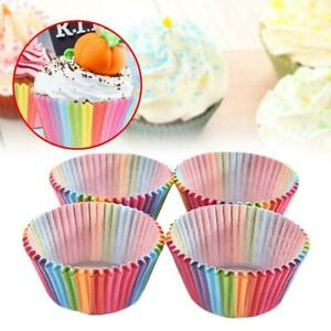 200pcs Colorful Rainbow Paper Cake Cupcake Liners Baking Muffin Cups Case US
