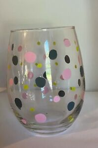 Hand Painted Polka Dotted Stemless 20.5 oz. Wine Glass $12.99