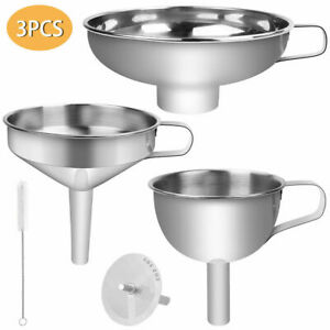 3PCS Set Kitchen Filter Funnel Portable with Strainer Oil Stainless Steel Hopper