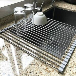 17.7quot; x 15.5quot; Large Dish Drying Rack Attom Tech Home Roll Up Dish Racks