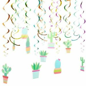 30x Fiesta Cactus Hanging Swirl Spiral Decorations for Ceiling Kids Birthday 8quot;