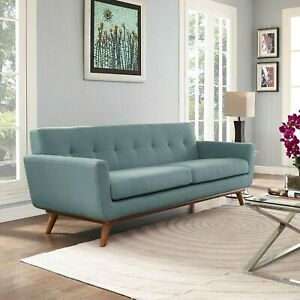 Mid Century Modern Upholstered Fabric Living Room Sofa in Laguna