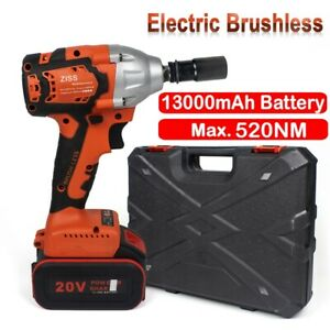 Electric Cordless Impact Wrench Brushless 1 2#x27;#x27; Driver Max 800Nm with Battery