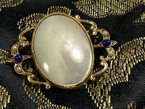 Mother of Pearl MOP Lapis Blue Color Faux Pearl Accent Golden Oval Vintage Pin $27.75
