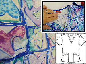 Scrub Top 2 Pocket Dickies Small blue with Multicolored blocked Hearts cute
