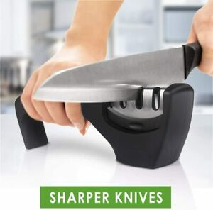 KNIFE SHARPENER PROFESSIONAL CHEF GRADE Heavy Duty Ceramic Tungsten 3 Stage