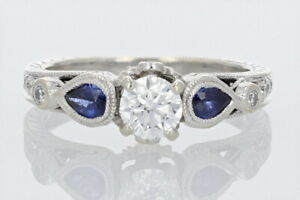 GIA® Certified 1.00ctw Diamond amp; Sapphire Engagement Ring 14k White Gold Size 6