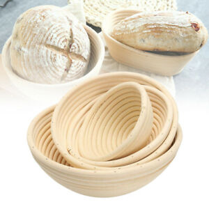 """7"""" 8"""" 9 10 Bread Proofing Basket Sourdough Backing Bowl Natural Rattan Round"""